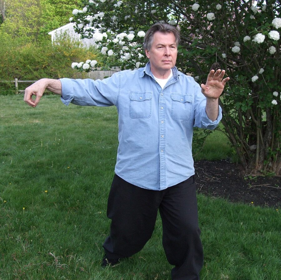 Instructor Fred Willette practicing Tai Chi form in an outdoor setting